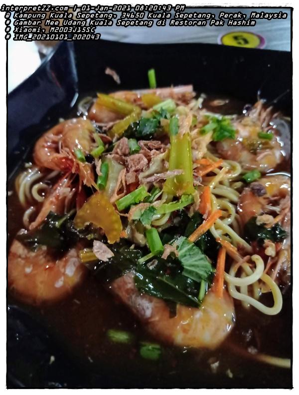 Gambar hidangan Mee Udang Laut Segar di Restoran Pak Hashim di Kuala Sepetang, Perak, Malaysia