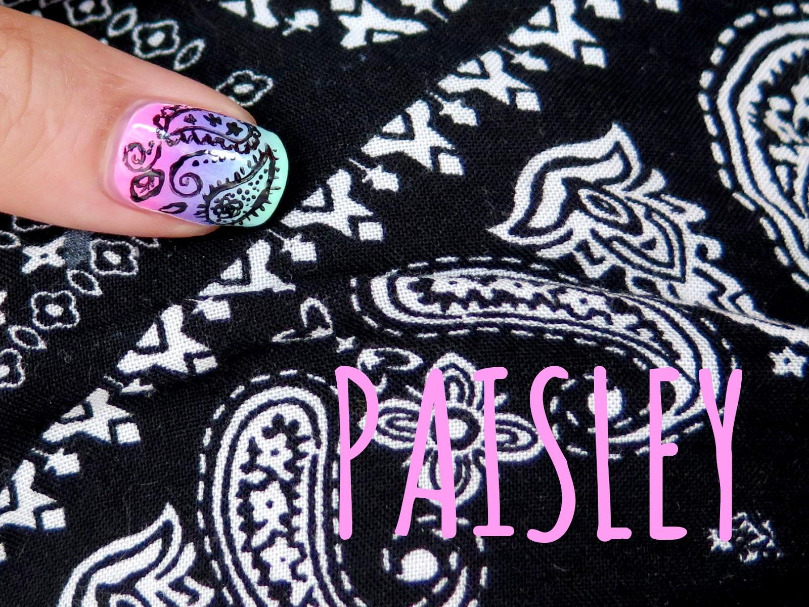 """Wzór """"paisley"""" - paznokcie, spodenki i bandana"""