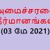 அமைச்சரவை தீர்மானங்கள் (03 மே 2021)