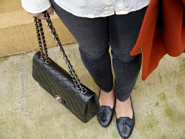 Skinny black denim, Chanel 2.55, black tassel loafers