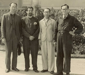 Hans Gál (2nd right) in the internment camp (Photo Courtesy of The Hans Gál Society)