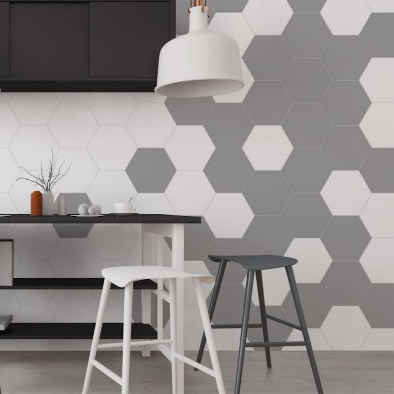 Cocina con azulejo pentagonal en frente