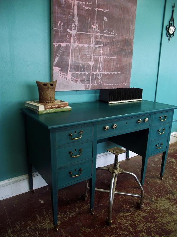 Vintage Ground Antique Deep Teal Desk
