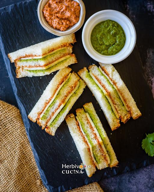 Tricolor sandwiches on a slate platter