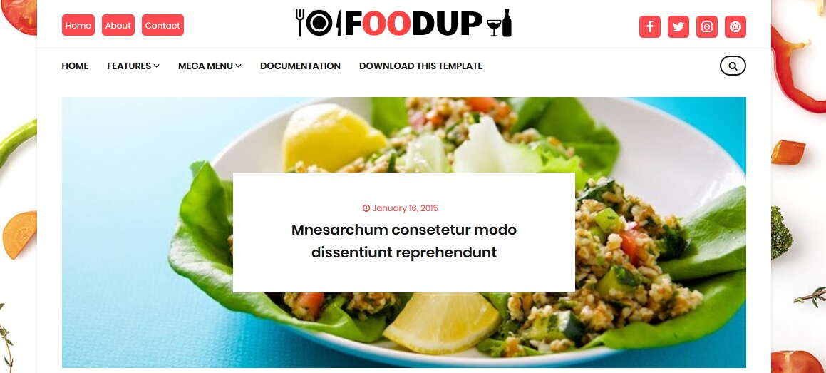 FoodUp Blogger Template | Food Blogger Template 2020