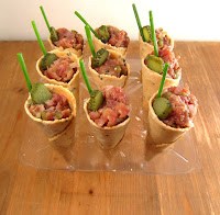 Mini conos de Steak-tartar