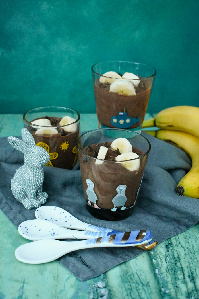 Choc chip and banana chocolate mousse. A luxurious chocolate mousse that is made in seconds. It's low in fat and calories as well as full of good stuff. This will becomes your go-to quick dessert and there's no guilt attached.
