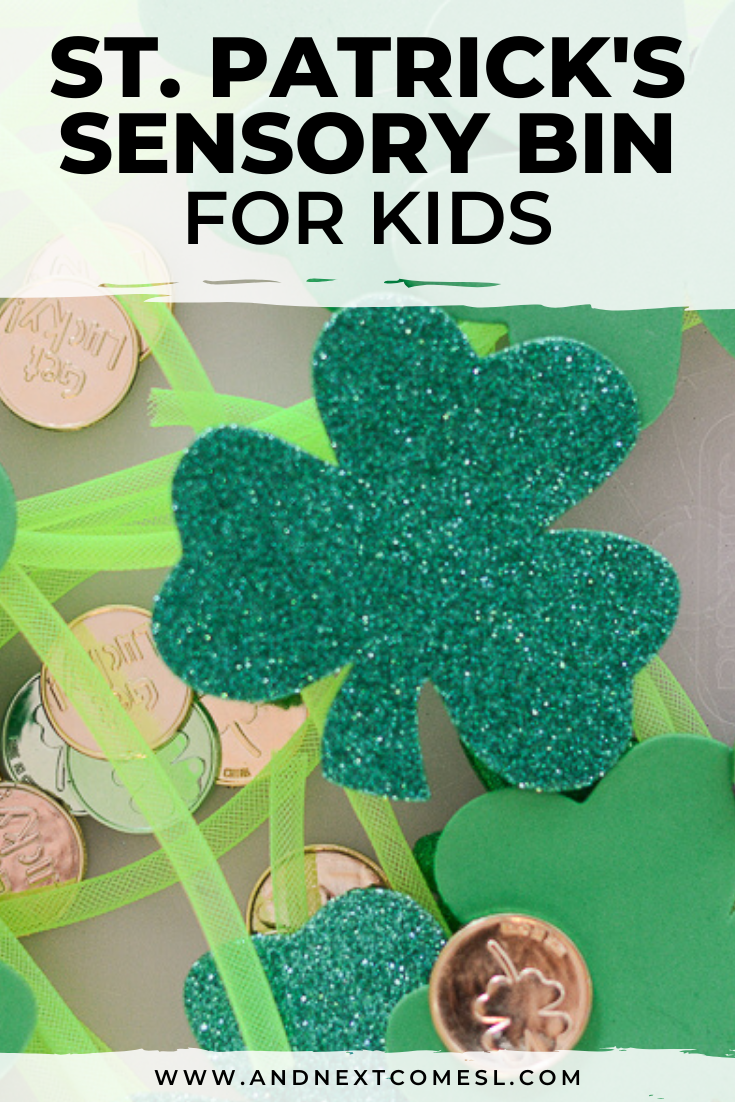 Super simple St. Patrick's Day sensory bin activity for preschool kids and toddlers