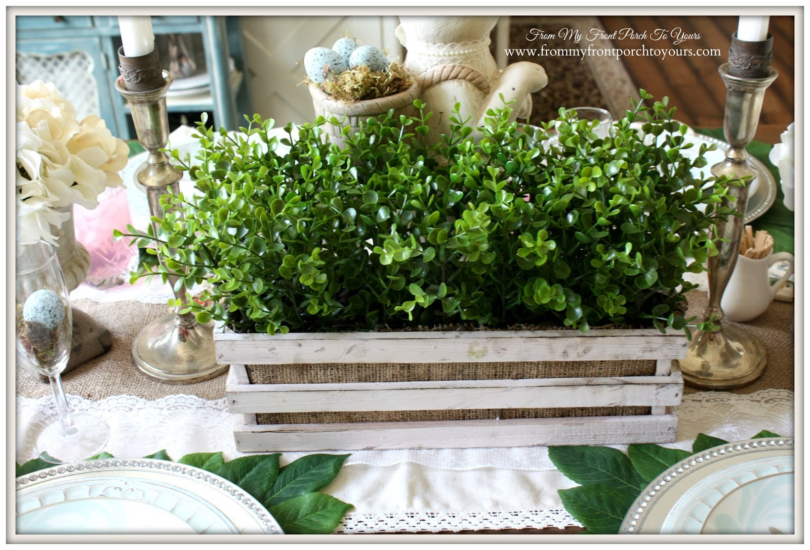 Faux Boxwood Crate-French Farmhouse Easter Dining Room-Greenery- From My Front Porch To Yours