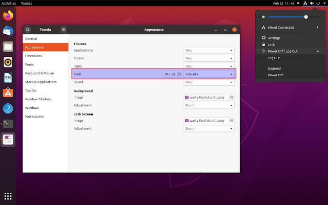 Ubuntu Adwaita GNOME Shell theme