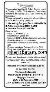 Lowongan Kerja PT. Transafe Indonesia