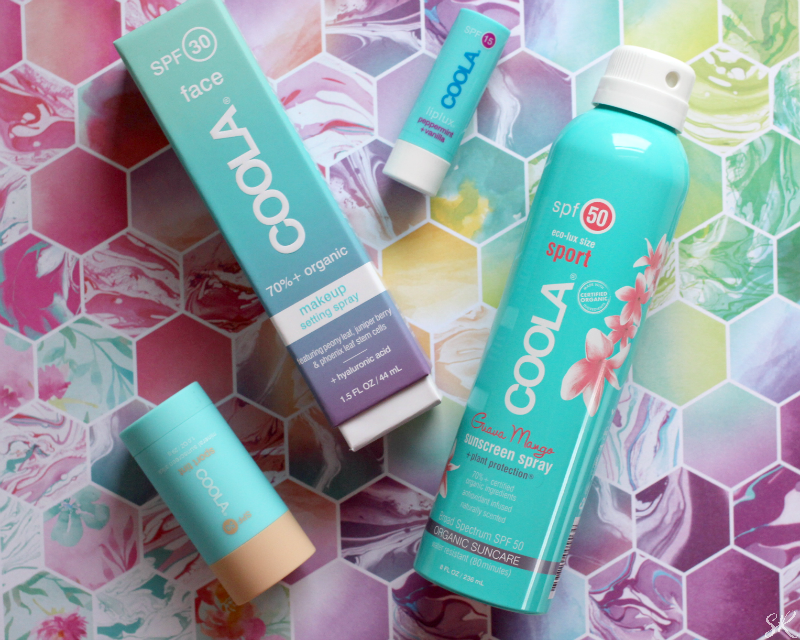 Coola Sunscreen on a colorful background
