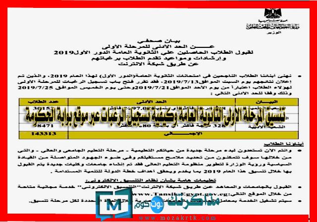 تنسيق المرحلة الأولى الثانوية العامة 2019 وكيفية تسجيل الرغبات عبر موقع بوابة الحكومة tansik egypt gov