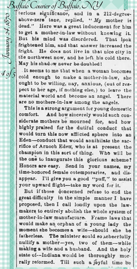 Kristin Holt | the Victorian-American Mother-in-Law. From Buffalo Courier of Buffalo, NY on January 24, 1870: Hugh Murr on Mothers-in-Law. Part 4 of 5.