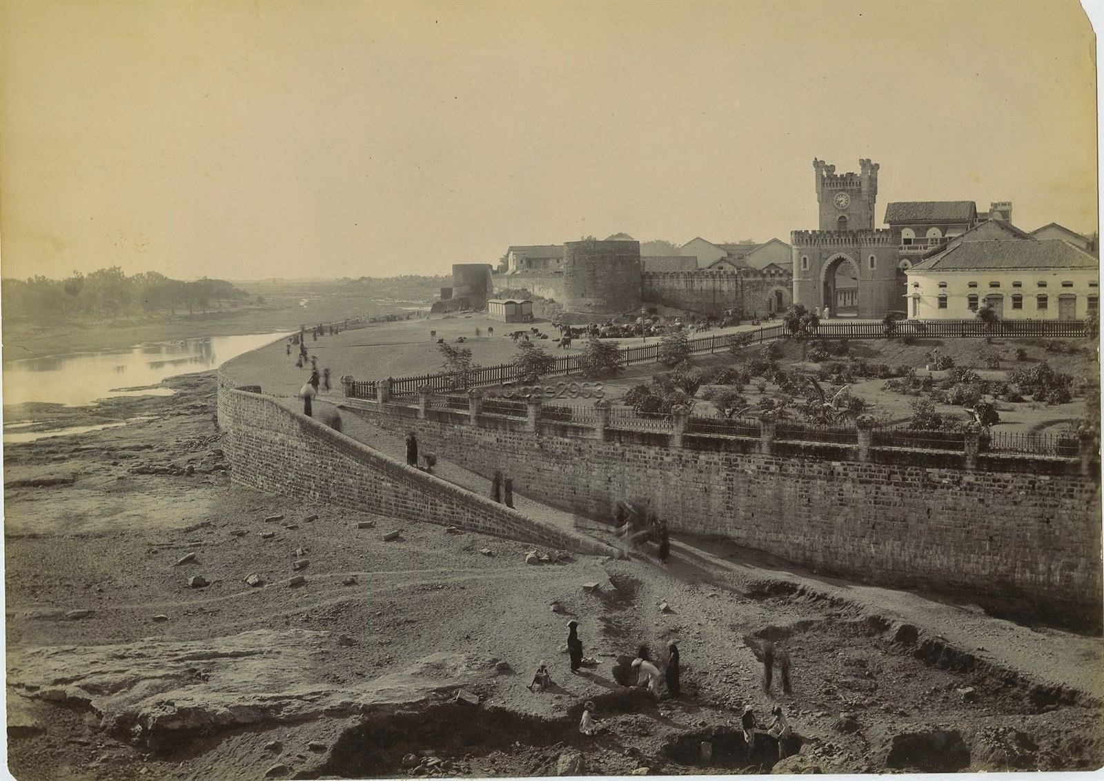 Walled City on a River in India c1900's