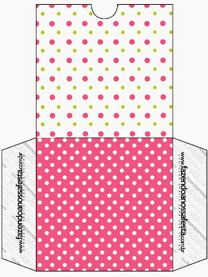 Pink, Green and White Polka Dots Free Printable CD Case.