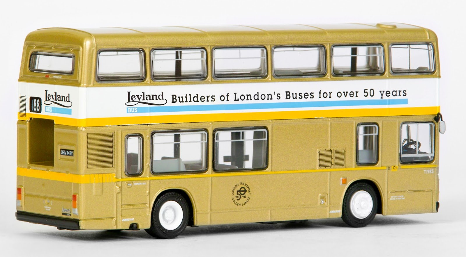 28823 - Leyland Titan -  London Transport Golden Jubilee Bus  Our model depicts T747 in its Jubilee livery whilst carrying its temporary T1983 fleet number, operating out of the Camberwell garage and working route 188 to Greenwich Maritime museum.
