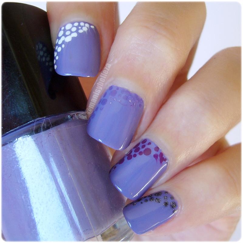 manicuras y belleza nail art f cil morado degradado retos colores puntos. Black Bedroom Furniture Sets. Home Design Ideas