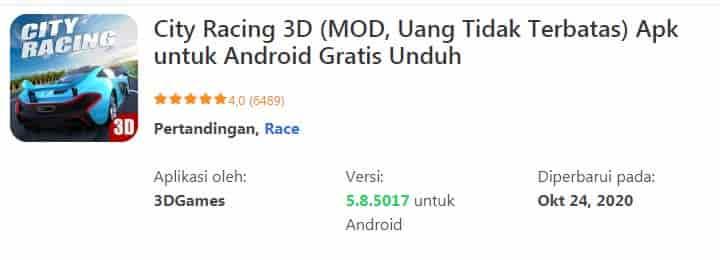 City Racing 3D (MOD, Uang Tidak Terbatas) Apk untuk Android Gratis Download