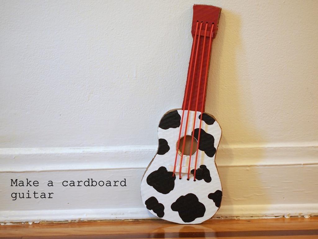 make a cardboard guitar | pink stripey socks