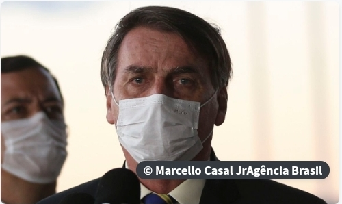 Bolsonaro sanciona lei que torna obrigatório o uso de máscara.