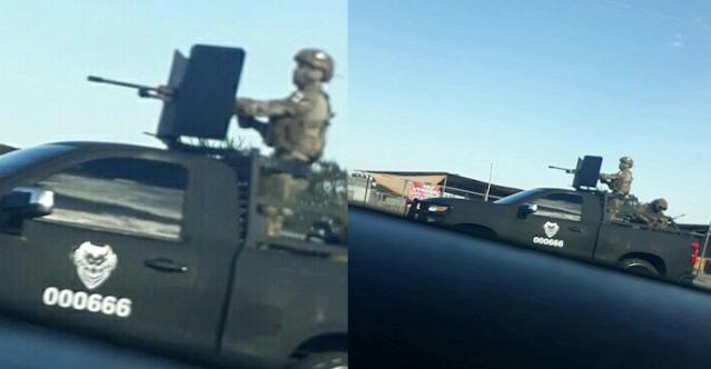 Video.- Captan a Sicarios del CDN los llamados Cuazitos paseándose al mero estilo Militar, con ropa y camioneta artilladas en Bulevar Canseco, N, Laredo, Tamaulipas