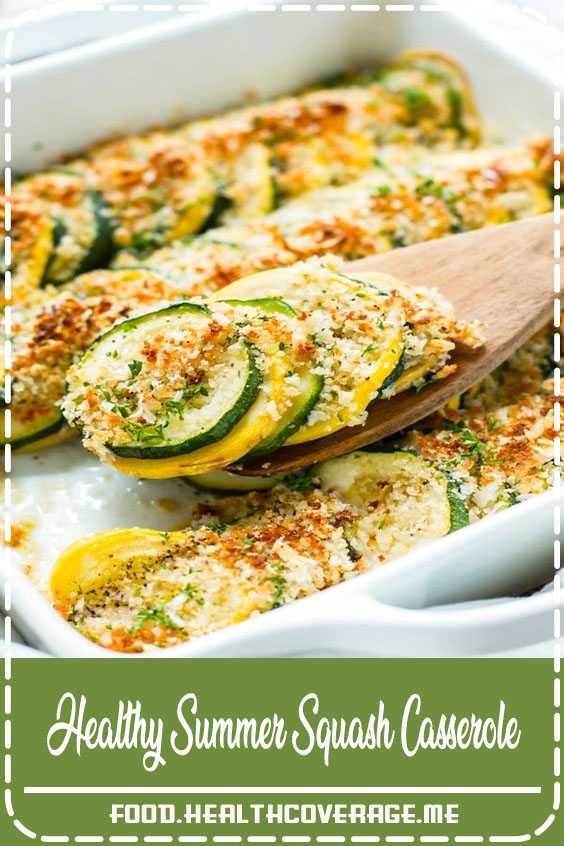 Healthy Squash Casserole recipe that is made with yellow squash, zucchini, a crunchy breadcrumb and Parmesan topping and then baked in the oven to crispy perfection!