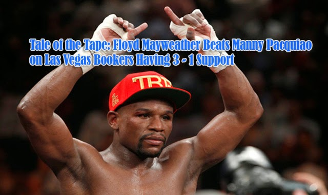 Tale of the Tape: Floyd Mayweather Beats Manny Pacquiao on Las Vegas Bookers Having 3 - 1 Support