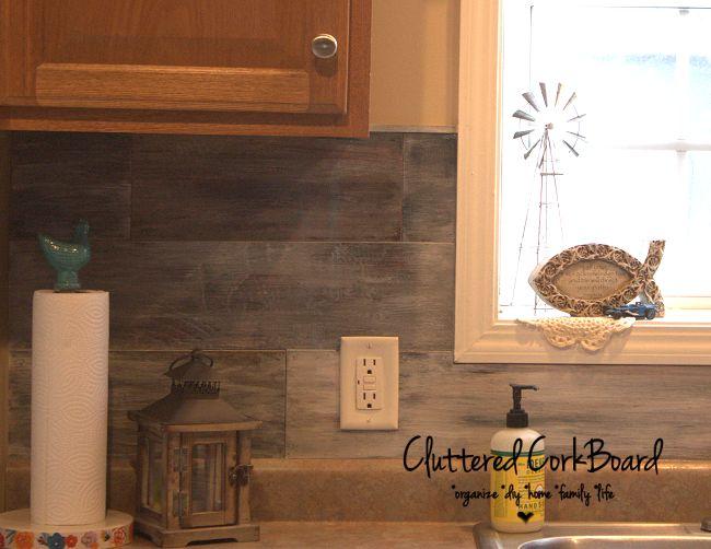 Kitchen Update Faux Barn Wood Backsplash Cluttered Corkboard