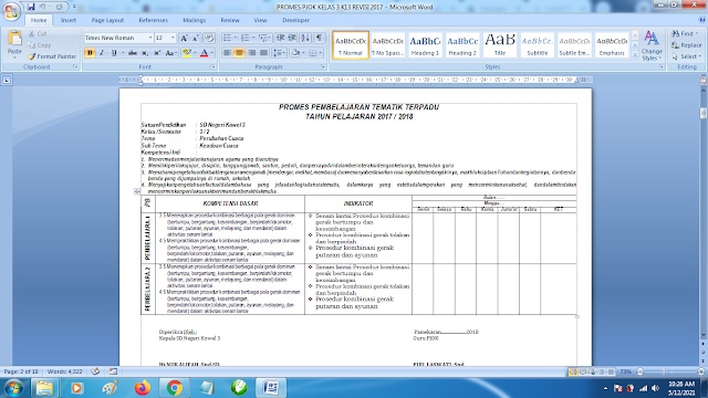 Contoh Promes PJOK Kelas 3 SD Semester 2 Kurikulum 2013 Revisi Terbaru
