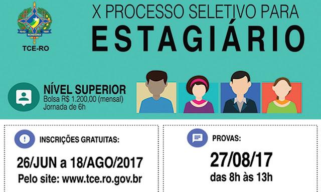 TCE realiza processo seletivo para contratação de estagiários de nível superior em Rondônia