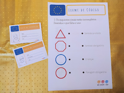 carta de condução a fingir e exame de código para crianças