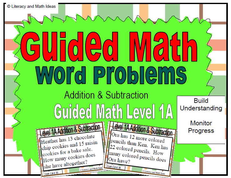 Literacy & Math Ideas: Guided Math (Word Problems) Level 1