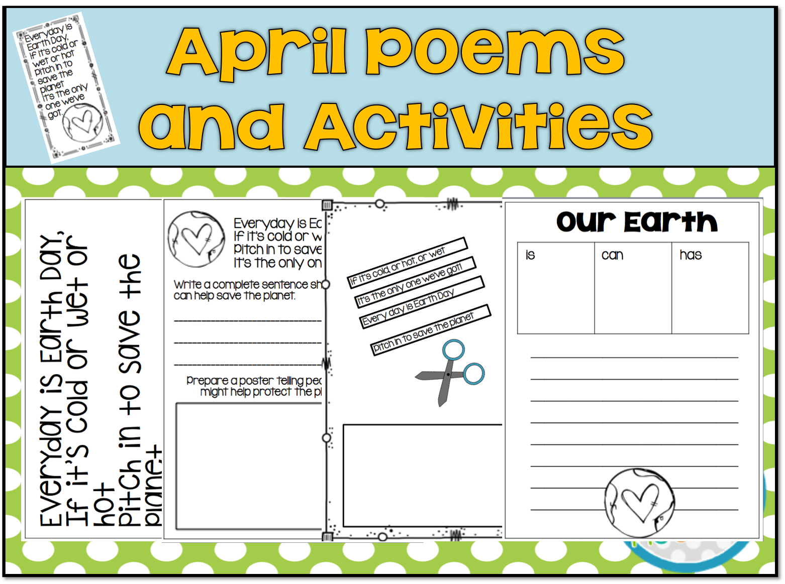 1st Grade Hip Hip Hooray April Poetry Ad Write