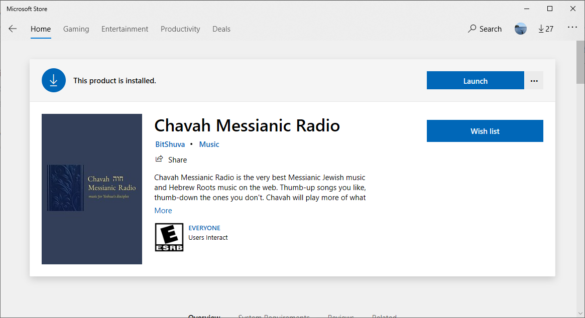 Chavah in the Microsoft Store
