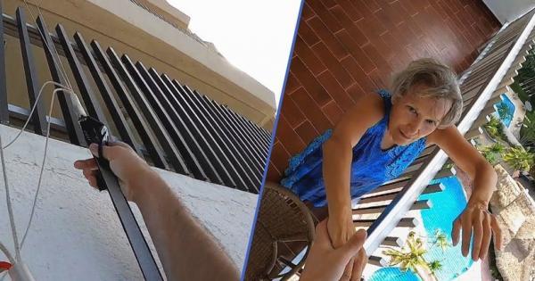 Видео: Бабушка спасла бейсджампера, повисшего на стене дома после неудачного прыжка