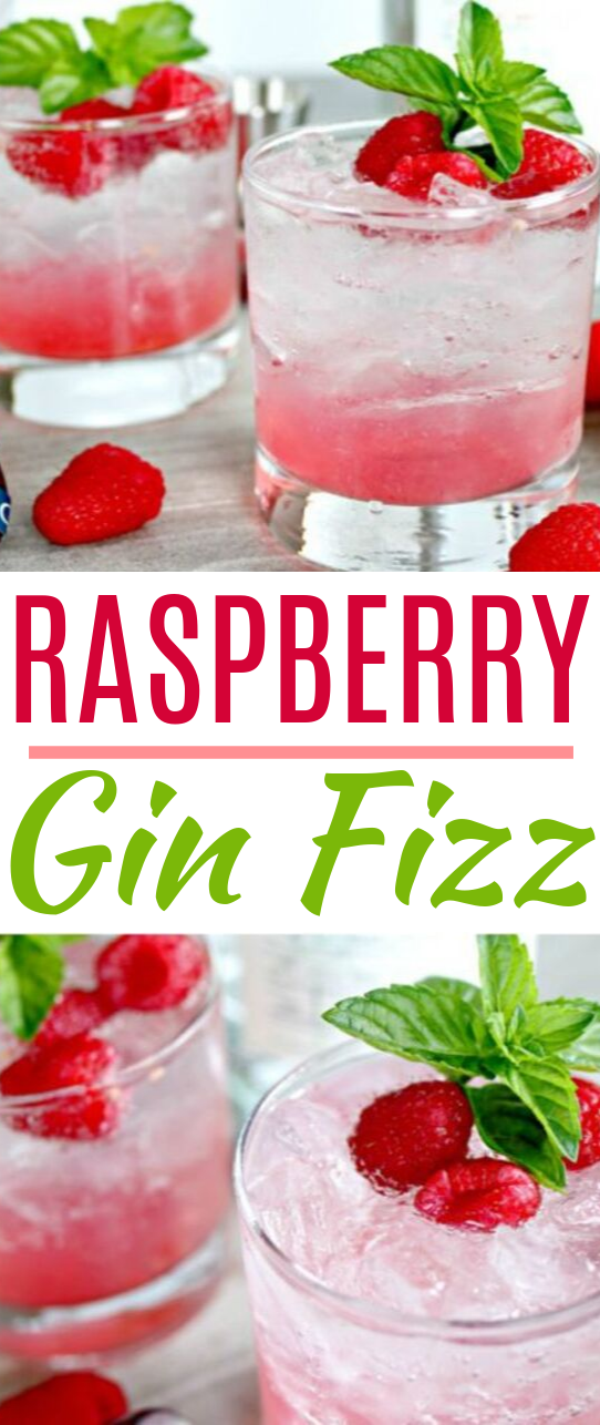 Raspberry Gin Fizz Cocktail #drinks #cocktails