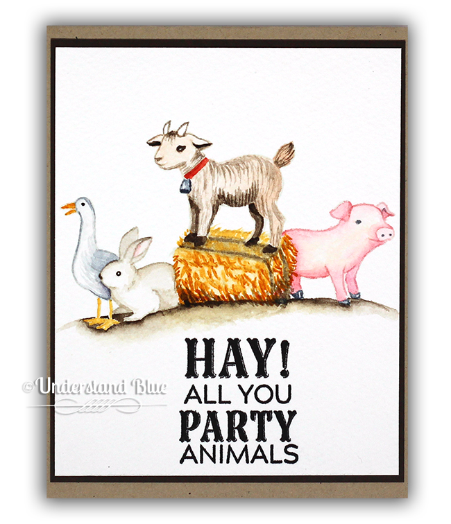 Masked Watercolor Party Animals Card by Understand Blue