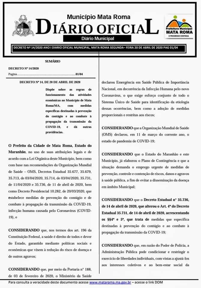 Decreto: Prefeitura de Mata Roma autoriza abertura do comércio, mas com restrições