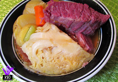 Corned Beef, vegetables (cabbage, onions, celery and carrots) cooked in a pressure cooker (Instant Pot or GoWise)