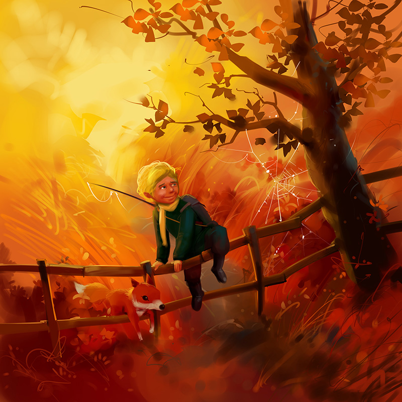 kids picture book illustration boy and fox in spring midow