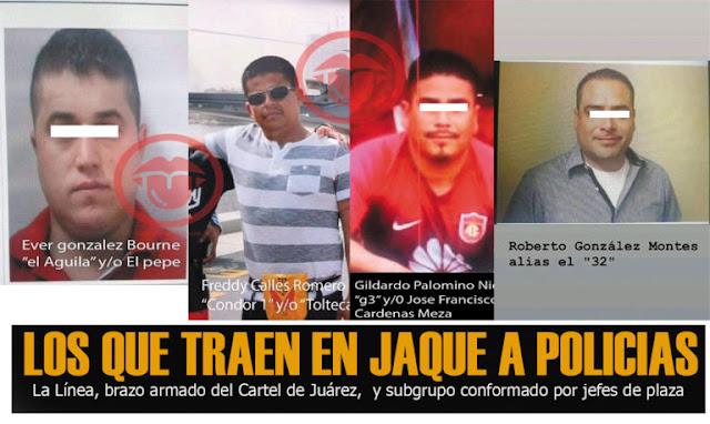 """Filtran fotografías de """"Los Mata Policías"""" Los jefes de plaza de """"La Línea"""", brazo armado del Cartel de Juárez, y subgrupos conformado por jefes de plaza, entre ellos """"La Empresa"""""""