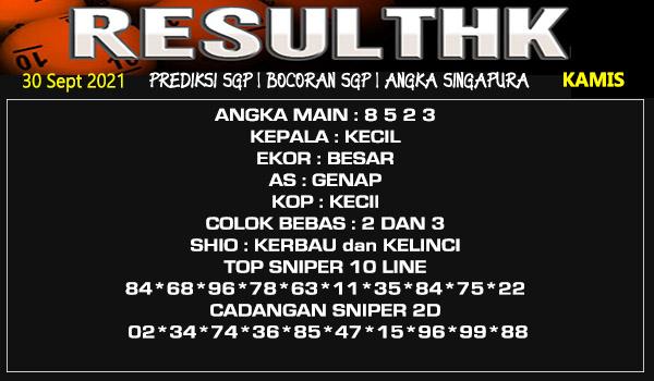 Prediksi Result SGP Kamis 30 September 2021