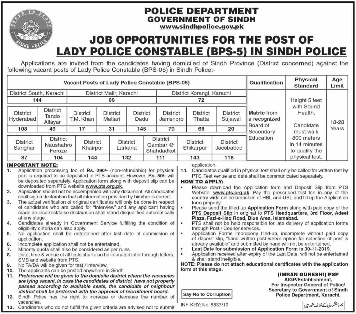 Matric Pass Lady Constable Jobs in Sindh