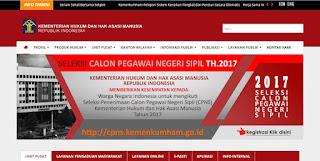 Formasi CPNS Kemenkumham Tahun 2017