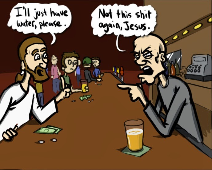 Funny Jesus bar water cartoon joke picture