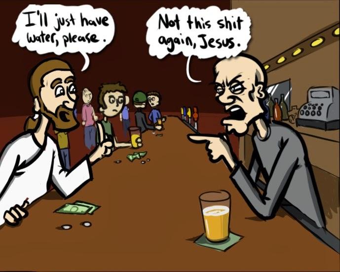 Funny Jesus bar water cartoon joke picture