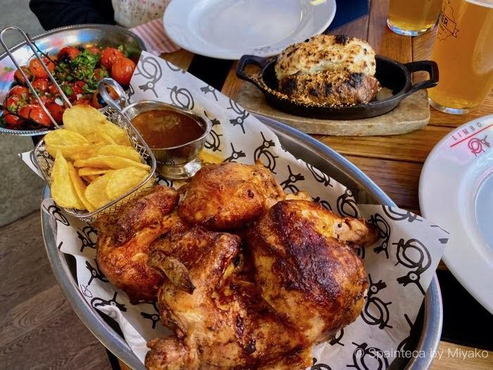 Limbo マドリードのリンボレストランの名物炭火焼きチキンとトマトのグリル
