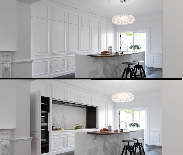 gallery style hidden kitchen designs
