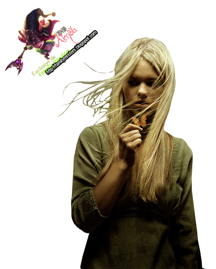 PNG-Chica con Mariposa